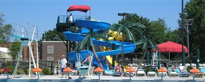 Oasis swimming pool waterslide